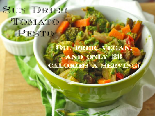 Sun Dried Tomato Pesto- Oil free, vegan, and only 20 calories a serving!
