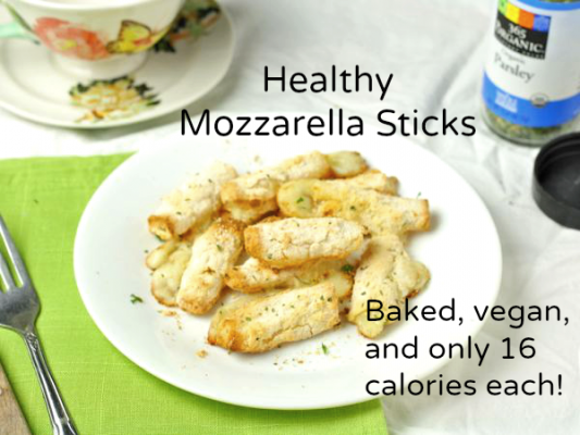 Healthy Mozzarella Sticks- Baked, vegan, and only 16 calories each!