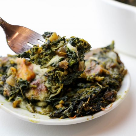 Cheesy Avocado Creamed Spinach Bake