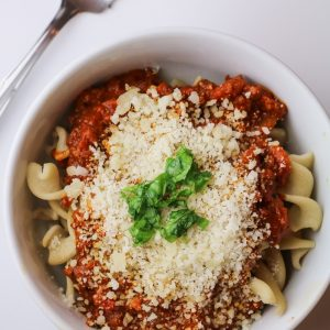 Three Ingredient Pasta Bolognese for One